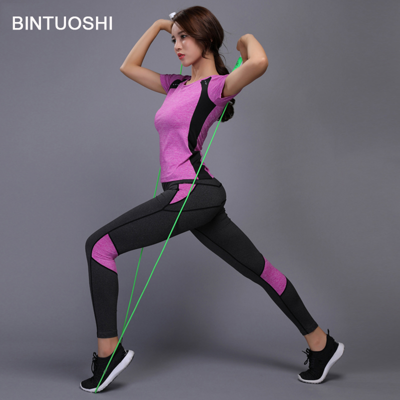 bintuoshi women yoga set gym fitness clothes tennis shirt