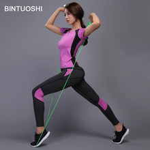 277eb0eac BINTUOSHI Mulheres Yoga Set Roupas de Ginástica Da Aptidão Tênis De Jogging  Workout Shirt + Calças