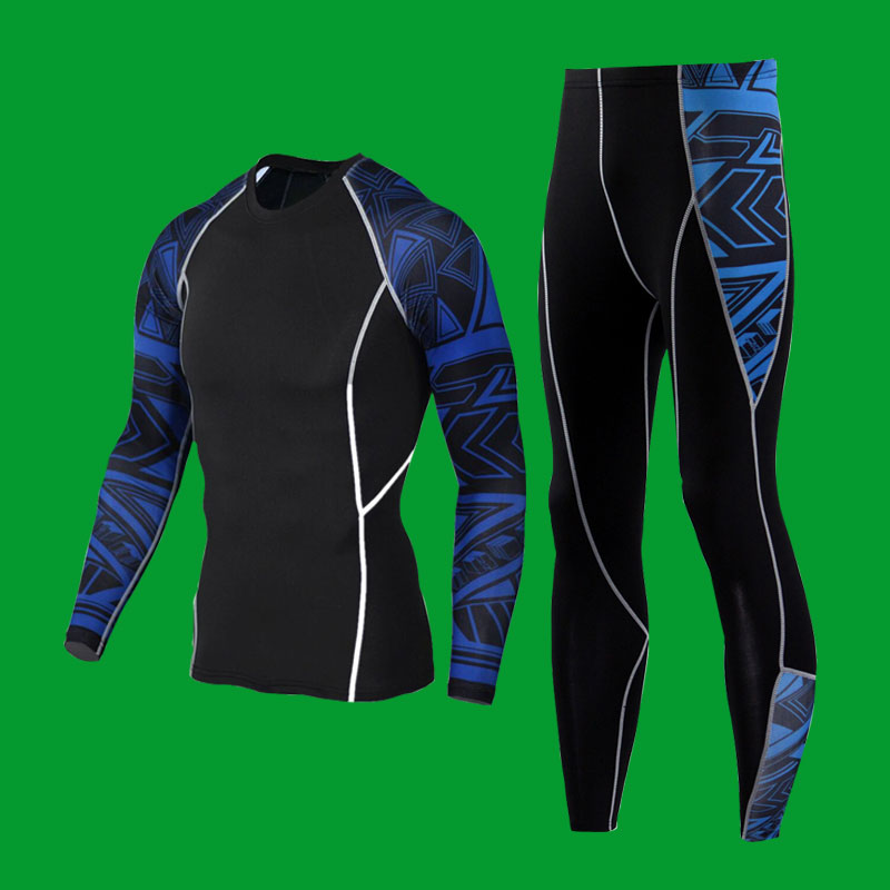 Free shipping Men T-shirt + Pants Men Fitness Mens Joggers Compression Pants Male Trousers Bodybuilding Tights Leggings