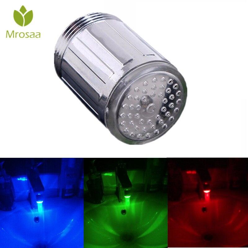 Mrosaa LED Light Water Faucet Tap Heads M24 Temperature Sensor 3 Color Changing RGB Glow Bathroom Shower Faucet Nozzle Aerators