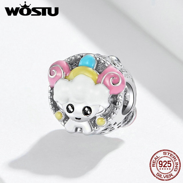 WOSTU Aries Lovely Girls Beads 100% 925 Sterling Silver Charm Fit Original Bracelet Pendant Wedding Fashion Jewelry FNC089