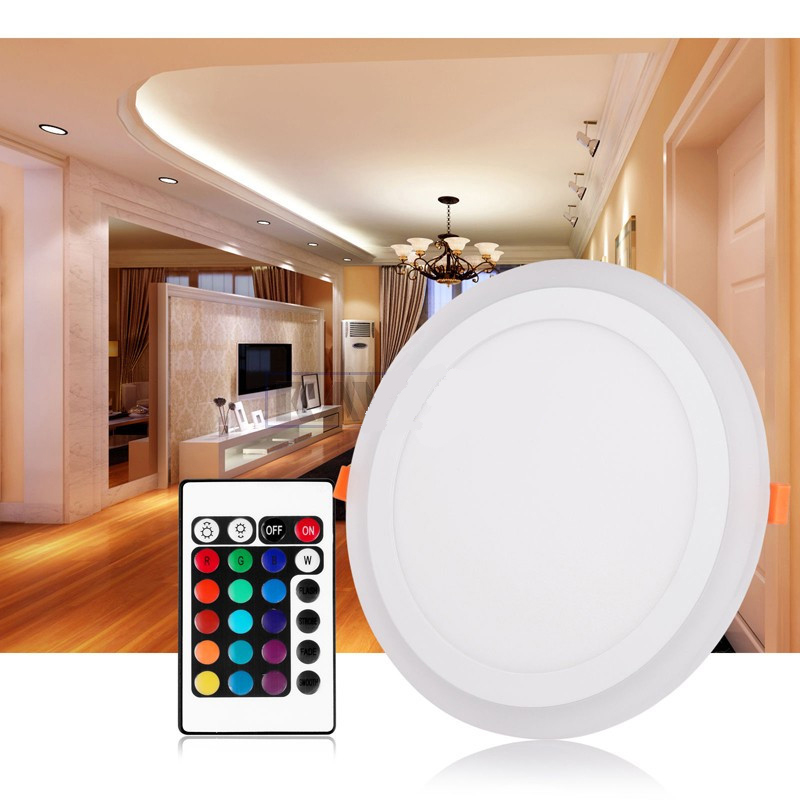 Hot Sale LED Downlight Round 6W - 24W 3 Model LED Lamp Double Color Panel Light RGB & white Ceiling Recessed with Remote Control