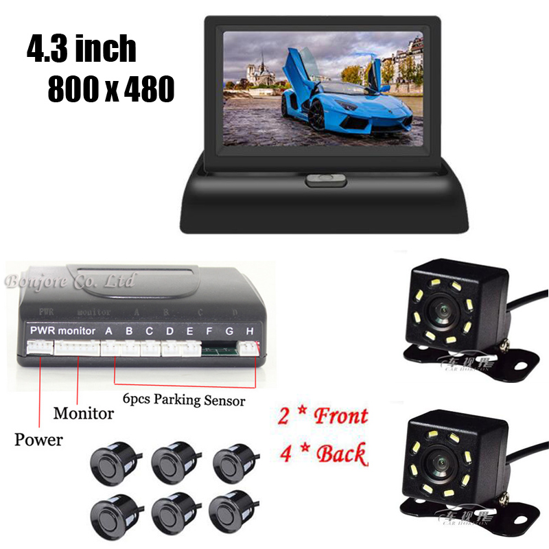 4.3' Foldable HD 800x480 monitor & Auto Parking Sensor Radar image System 8 LED Night Vision Rear Front camera Video all-in-one 800 x 480 5car mirror monitor parking