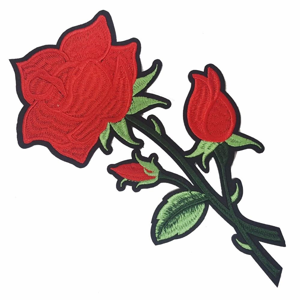 2 buc flori de trandafir de fier pe patch-uri brodate de patch-uri - Arte, meșteșuguri și cusut