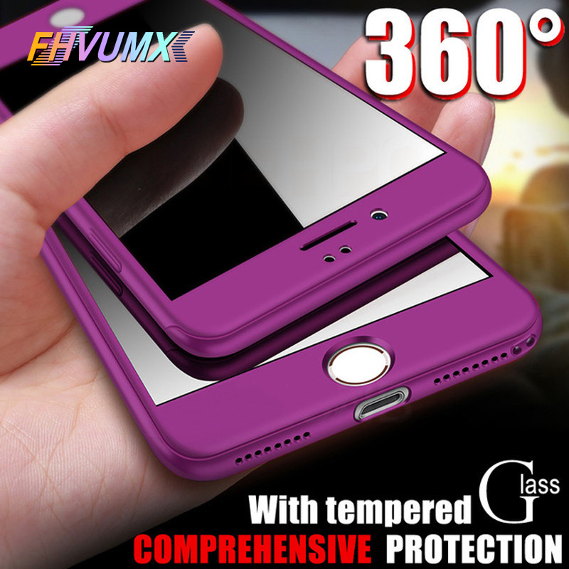 FHVUMX 360 Full Cover Phone <font><b>Case</b></font> For <font><b>iPhone</b></font> X 8 6 <font><b>6s</b></font> 7 PC Protective Cover For <font><b>iPhone</b></font> 7 8 Plus <font><b>6S</b></font> 6 S Plus <font><b>Case</b></font> Cover With Glass image