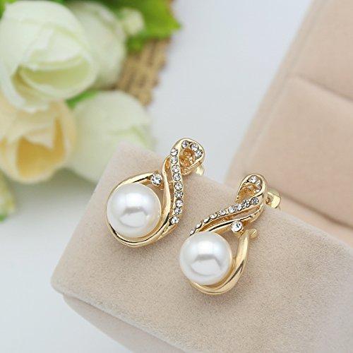 2018 Luxury Wedding Jewelry Set Pearl Necklace Rhinestones Charms Earrings Set Jewelery Set For Lady Girl