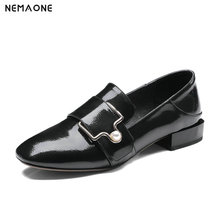 NEMAONE Big size 42 New genuine leather shoes woman low heel women pumps square toe ladies dress wedding shoes black red green