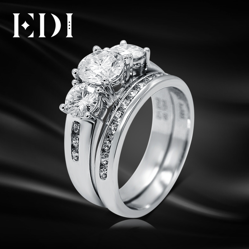 EDI Three Stone Moissanite Fairy Tales Romantic 14k 585 White Gold Ring For Women Lab Grown Diamond Fine Jewelry Valentine's Da genuine14k 585 white gold push back 1carat ctw test positive lab grown moissanite diamond earrings for women