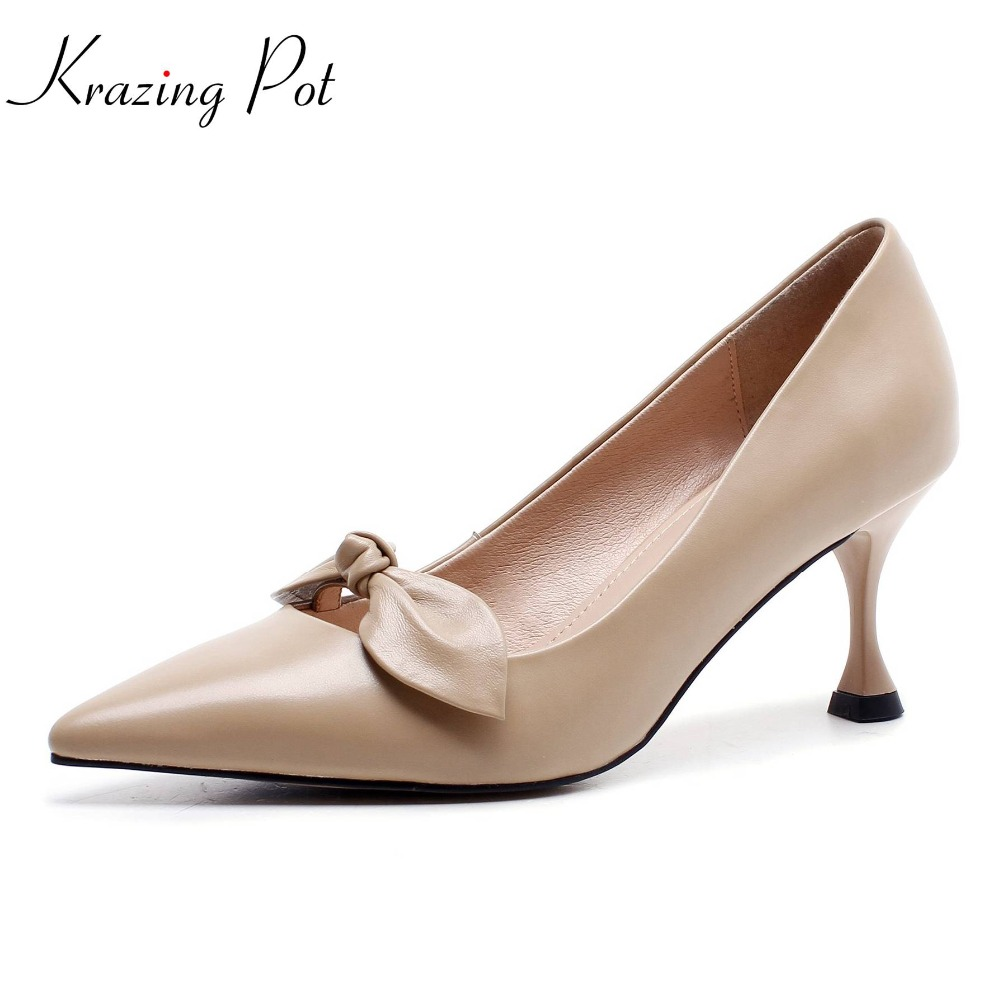 Krazing pot cow leather pointed toe thin high heel slip on butterfly knot office lady women pumps simple solid style shoes L8f5 venchale 2018 summer new cow leather solid outside butterfly knot high thin heel three colors casual pointed toe women s slides