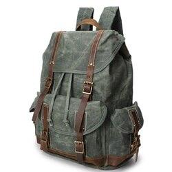¡Novedad! M144 mochila de lona para hombre, multifunción, Vintage, de cuero, estilo militar, resistente al agua, mochila para mochileros, marca de lujo de cuero de vaca