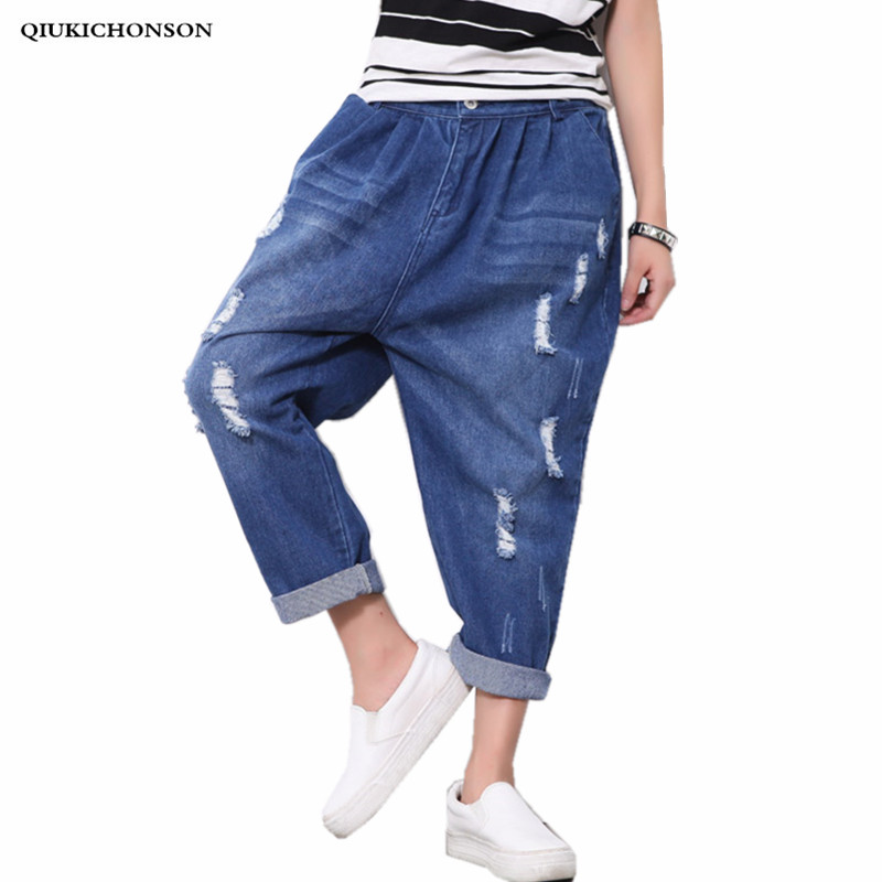 Elastic Waist Women Denim Jeans Harem Pants 2019 New Style European And American Plus Size Broke Hole Jeans