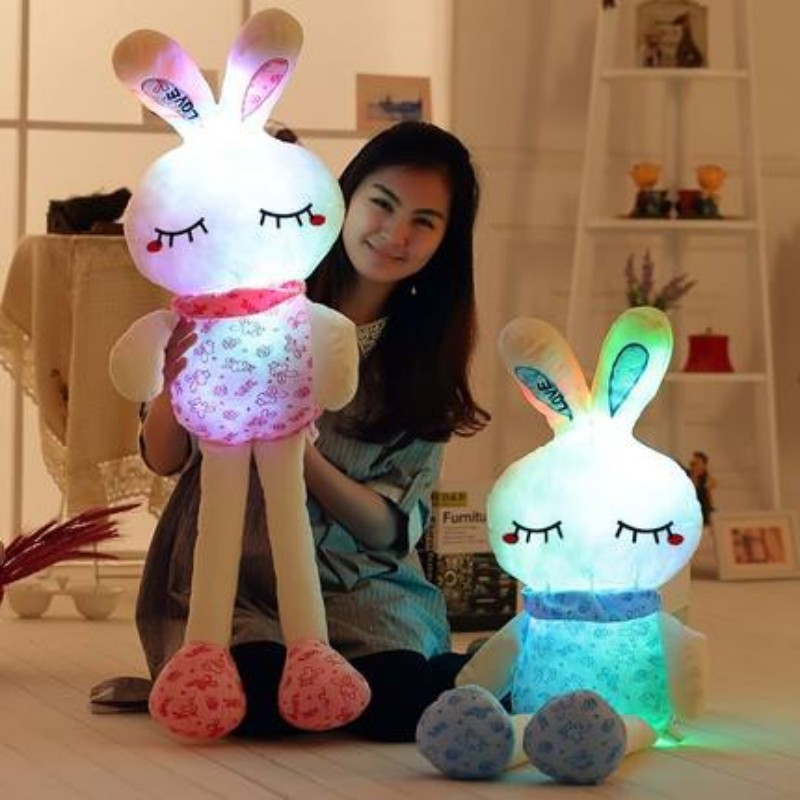 75CM Led Luminous Glowing Toy Light Up Plush Rabbit Doll Christmas New Year Birthday Gift For Kid Girlfriend Child WJ447 stuffed animal 120 cm cute love rabbit plush toy pink or purple floral love rabbit soft doll gift w2226