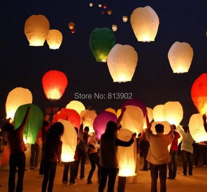 30ps/lot Free shipping white Sky Lantern Wishing Lamp flying lantern ballons BIRTHDAY WEDDING PARTY ,SL014