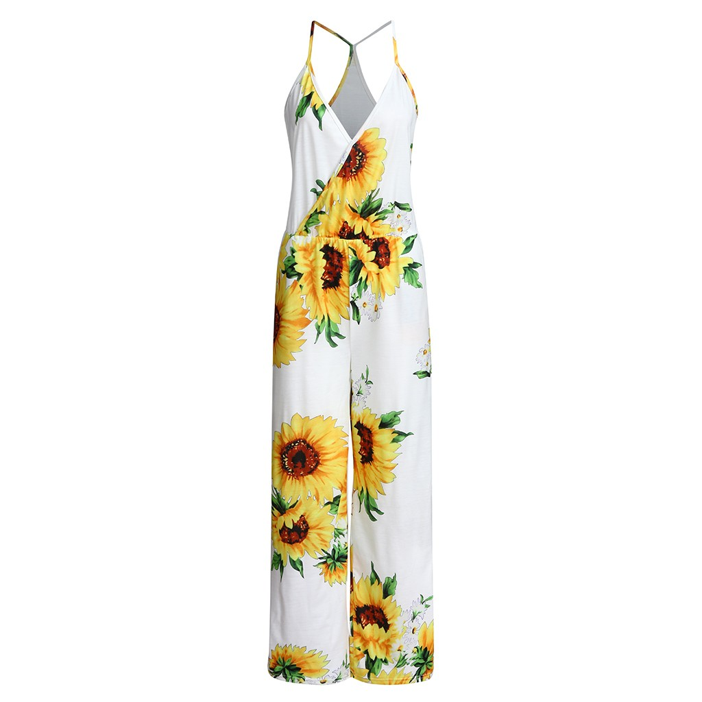 Women Lady's Summer Sexy Flower Printed Camisole Sleeveless V Neck Jumpsuit jumpsuit women combinaison femme bodys para mujer