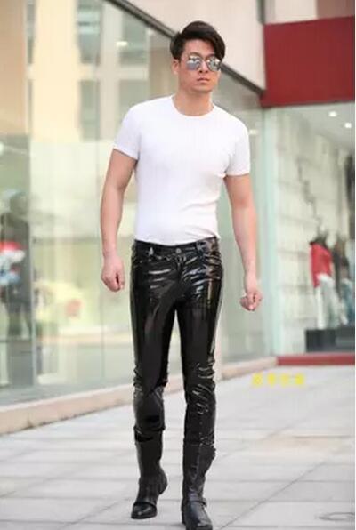 28-38 2017 Neue Klassische Mode Herrenbekleidung Dünne Die Helle Licht Lackleder Hosen Hosen Plus Größe Männlichen Bühnenkostüme