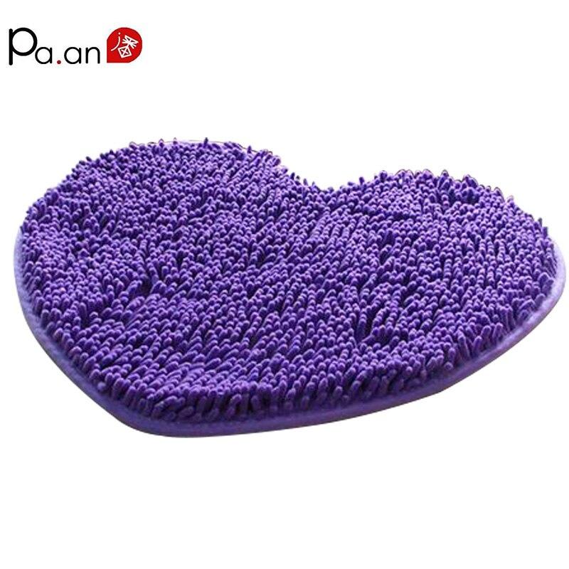 Love Heart Shape Plysj Chenille Mats Super Myk Anti-Slip Christmas Carpet Valentine Gave Bathroom Bedroom Decor Mats og Tepper