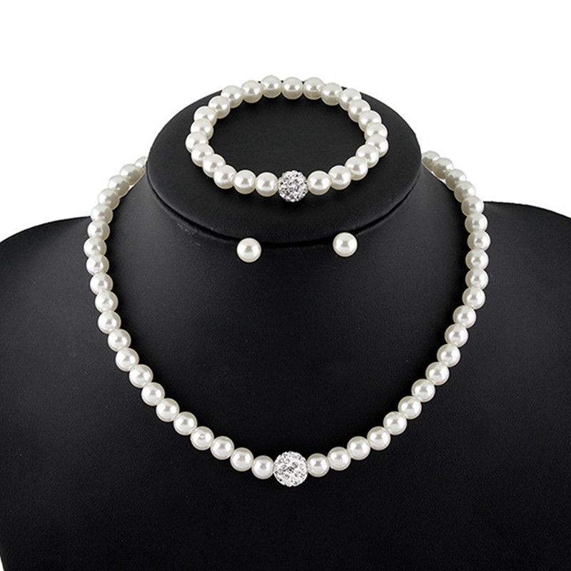2018 Hot Classic Simulated Pearl Jewelry Sets Fashion Wedding Engagement Jewelry Necklace/Earrings/bracelet Sets For Women Gifts