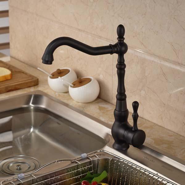 Kitchen Faucet Single Handle Hole Vessel Sink Mixer Tap Deck Mounted Oil Rubbed Bronze oil rubbed bronze finished deck mounted kitchen sink faucet 360 degree rotation single handle mixer tap