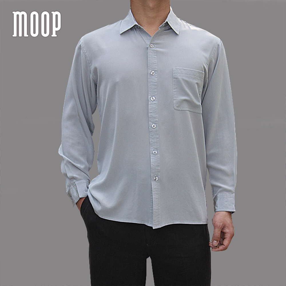4 Colors solid men natural silk shirts long sleeve business shirt ...