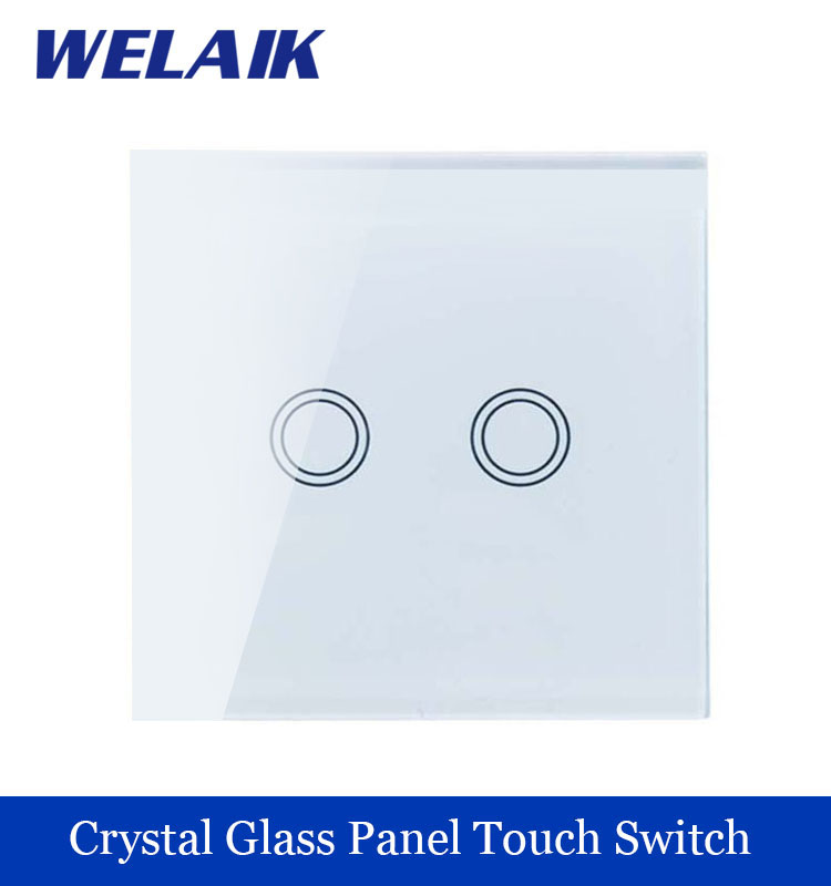 WELAIK Crystal Glass Panel Switch White Wall Switch EU Touch Switch Screen Wall Light Switch 2gang1way AC110~250V A1921XW/B welaik crystal glass panel switch white wall switch eu remote control touch switch light switch 1gang2way ac110 250v a1914xw b