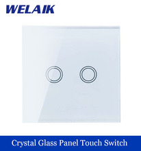 WELAIK Crystal Glass Panel Switch White Wall Switch EU Touch Switch Screen Wall Light Switch 2gang1way AC110~250V A1921XW/B
