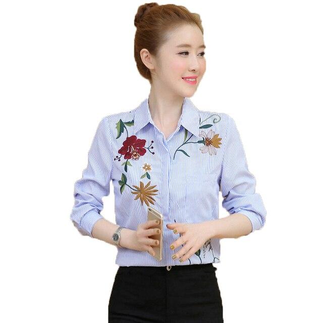 37ea82c5e1 WAEOLSA mujer rayas camisa bordado de flores blusas para mujer de negocios  Casual Tops Oficina Chic