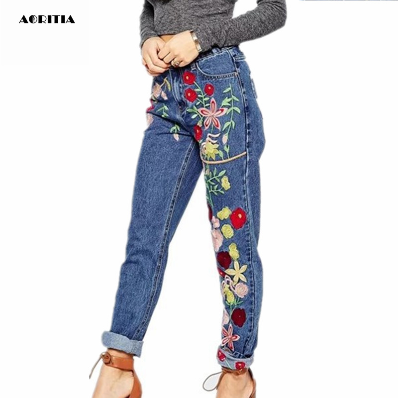 2018 Woman Denim Jeans Full Length Pants High Waisted Jeans With Embroidery
