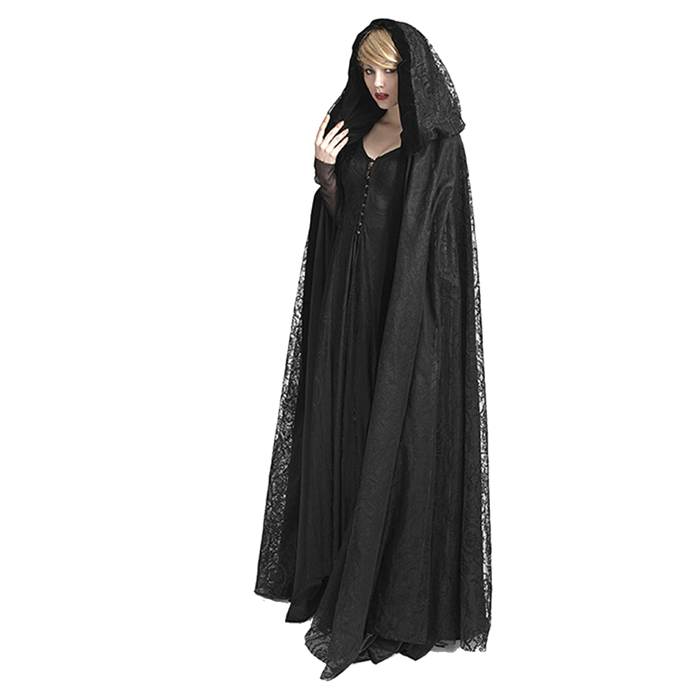 Steampunk Womens Witch Cape Black Hooded Lace Long Coat Priestess Halloween Costume Maix Jubah Cape