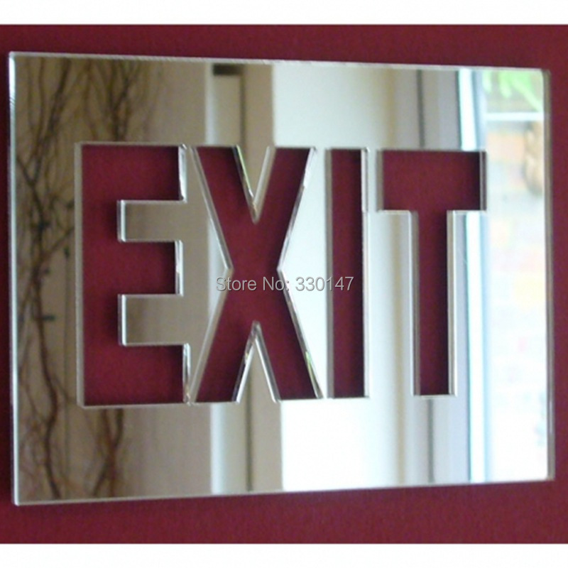 1 set Mirror acrylic EXIT the emergency EXIT sign mirror wall stickers Door indication sign