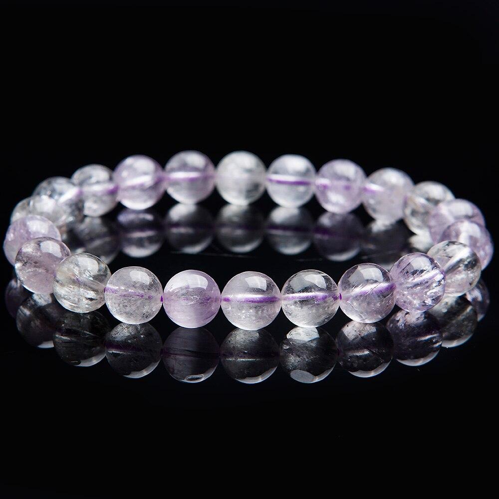Newly Natural Purple Kunzite Cat Eye Round Beads Bracelet Gemstone Crystal 9mm Women Men Stone Rarest Bracelet Jewelry AAAAA in Bracelets Bangles from Jewelry Accessories