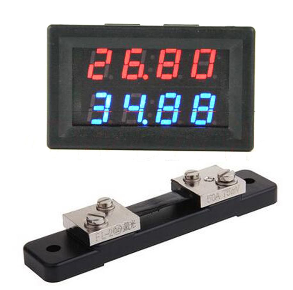 Electronic Components & Supplies Optoelectronic Displays Dykb Dc 200v 0-50a With 50a 75mv Shunt Voltmeter Ammeter Led Dual Display For 12v 24v Car Voltage Current Monitor Battery Curing Cough And Facilitating Expectoration And Relieving Hoarseness