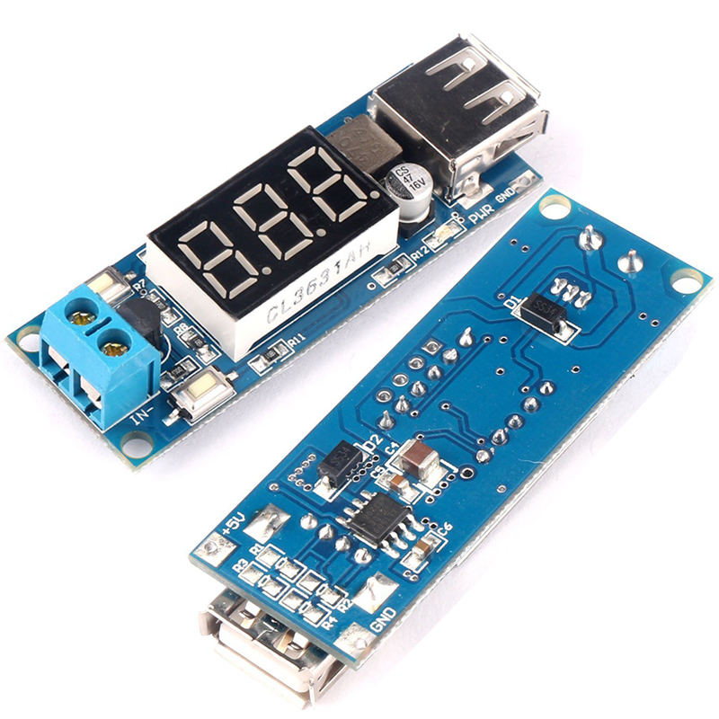 4.5-40V DC 12V to DC 5V Volt Step-down Module Practical USB Charger Buck Converter Modules LED Voltmeter HW-318 Limit Voltage  belt
