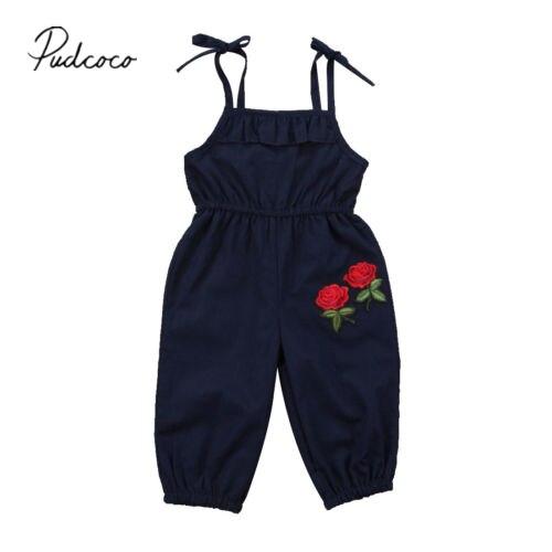 Pudcoco Kids Baby Girls Flower   Romper   Black Floral Jumpsuit Playsuit Outfit Clothes Sunsuit Fashion 1-6Y