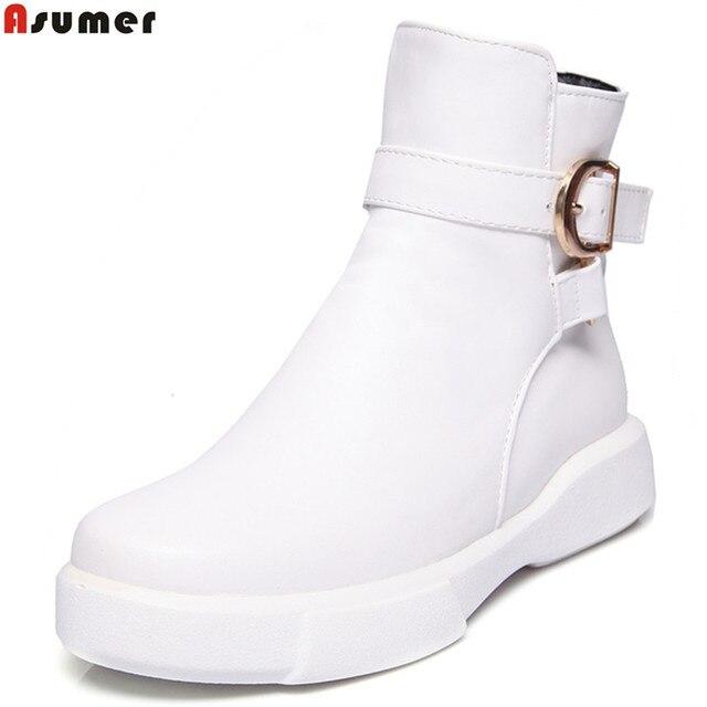 523521aa4eb980 ASUMER fahsion frauen stiefel herbst winter schwarz weiß reißverschluss  schnalle damen stiefel flache mit stiefeletten komfortable