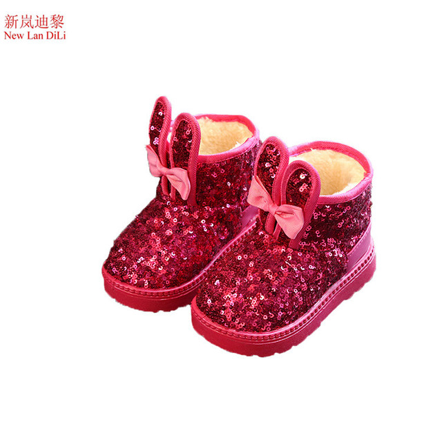 19f0cb8b5 Aliexpress.com : Buy Winter Children Snow Boots Sequin Girls Plush Snow  Boots Girls Rabbit ears Casual Boots Cotton Bow tie Padded Kids Martin  Boots ...
