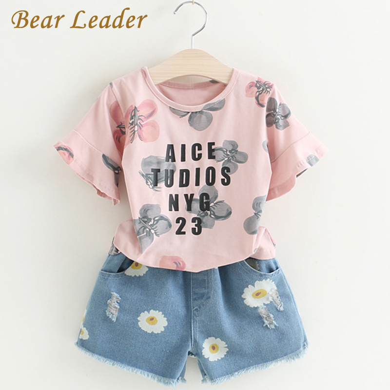 Bear Leader Girls Clothing Sets 2017 Brand Summer Style Kids Clothing Sets Print Shirt+Floral Jeans 2Pcs for Baby Clothing Sets стоимость