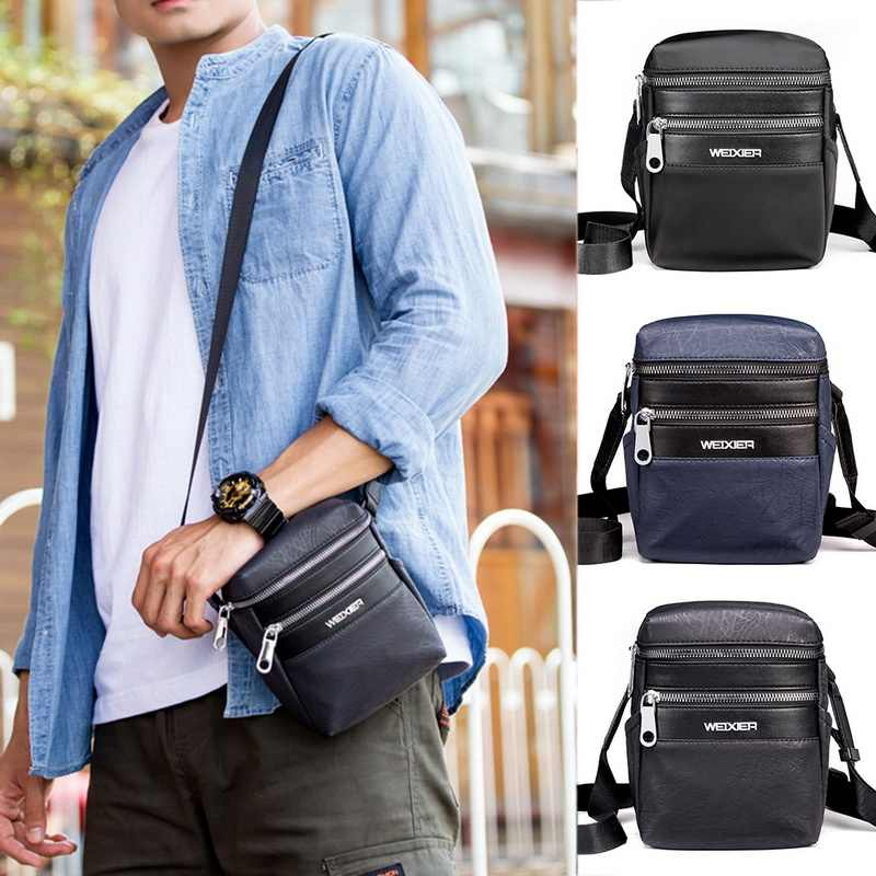 Fashion Men Messenger Bag Phone Pocket Crossbody Bag Waterproof PU Leather Multifunctional Male Small Flap