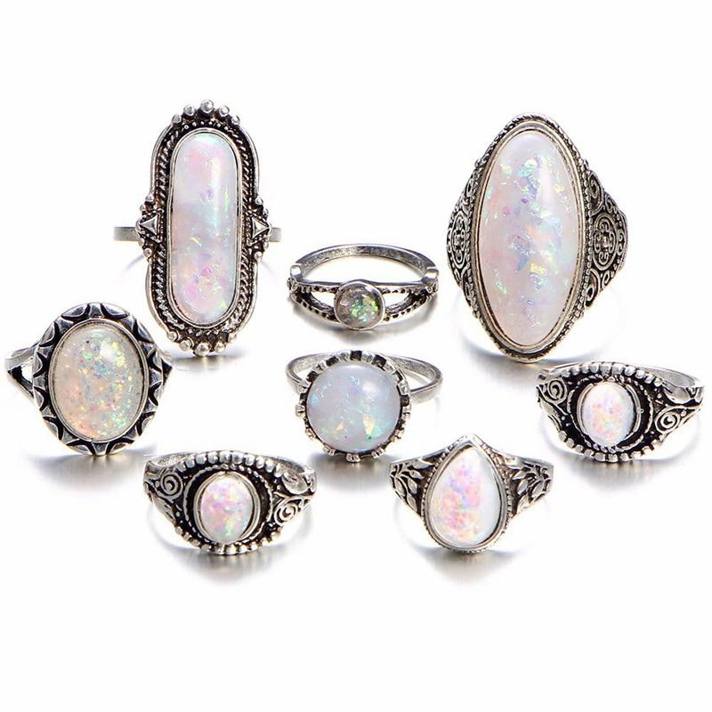 8pcs/set Vintage Geometric Stone Opal Rings Set For Woman Bohemian Antique Silver Color Knuckle Shield Rings Fashion