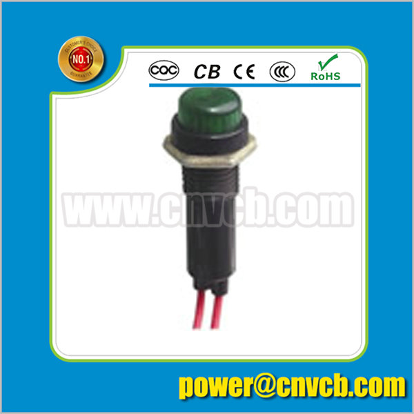 ZS144 10mm diameter wire lead green 12V/110V/220V pilot lamp indicator