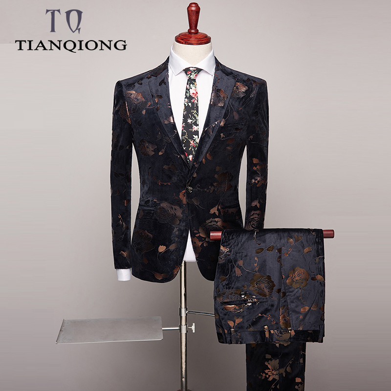 Two Piece Men Slim Fit 2019 Wedding Suits Fashion Design Mens Floral Print Suits Party Dinner Prom Wear Latest Coat Pant Designs