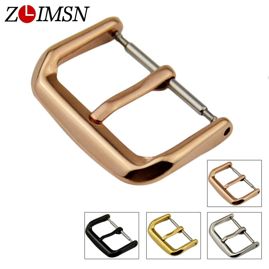 ZLIMSN Silver Black Metal Buckles Polished Stainless Steel Watch Buttons 10 12 14 16 18 20 22 24mm Buckle Watches Accessories zlimsn watch band buckles stainless steel leather straps buckle watchbands 4 colors 16 18 20 22mm watches accessories