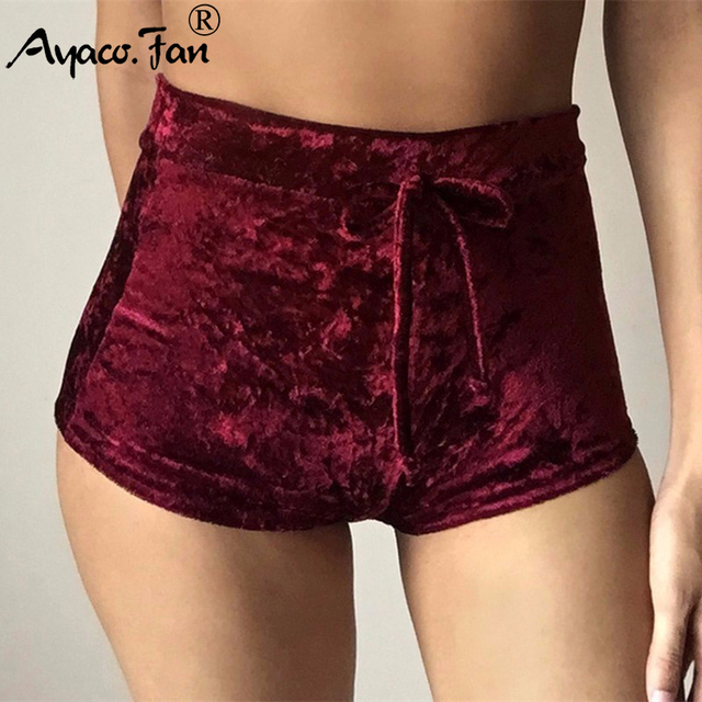 2019 Summer New Women Pink Velvet Slim Sports Shorts Sexy Bodycon Workout Flannel Short Pants Casual Lady Elastic Soft Sportwear 8