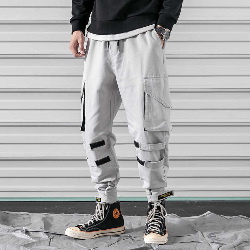 2019 Yeni Streetwear Joggers Erkekler Ordu harem pantolon Çok cep Hip Hop Erkek Sweatpants koşucu pantolonu Erkekler LBZ51