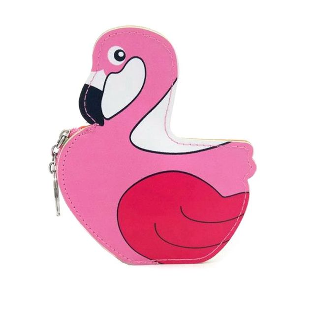 Cartoon Flamingo PU Leather Coin Purses Holder Cute Girl Kids Women Mini Change Wallets Money Coin Children Zipper Pouch Bag
