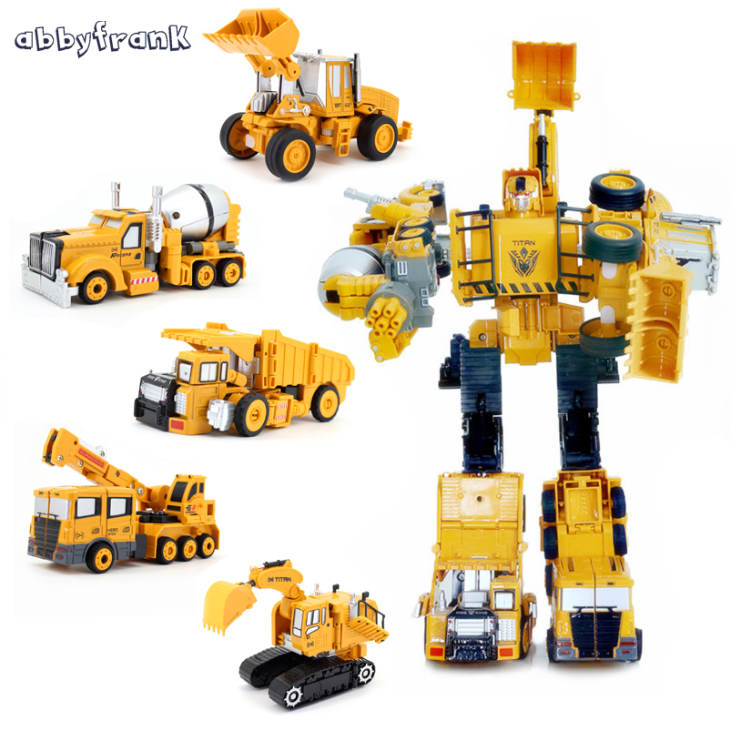 Abbyfrank 5 In 1 Transformation Car Assembly Action Figure Toys Truck Plastic Engineering Vehicles Robot Christmas Toy For Kids dinosaur transformation plastic robot car action figure fighting vehicle with sound and led light toy model gifts for boy