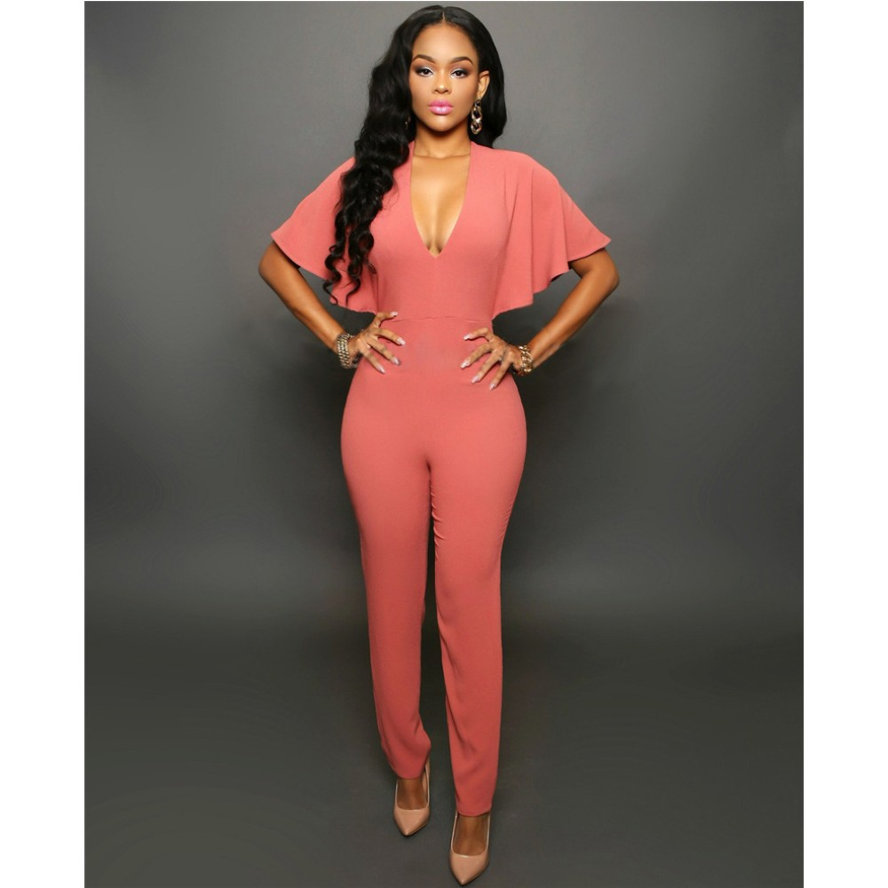 FK1491 Lady Fashion Jumpsuits Deep V Neck Mantle Sleeve Backless Sexy Rompers Long Pants Coveralls Barboteuse Overalls Wholesale