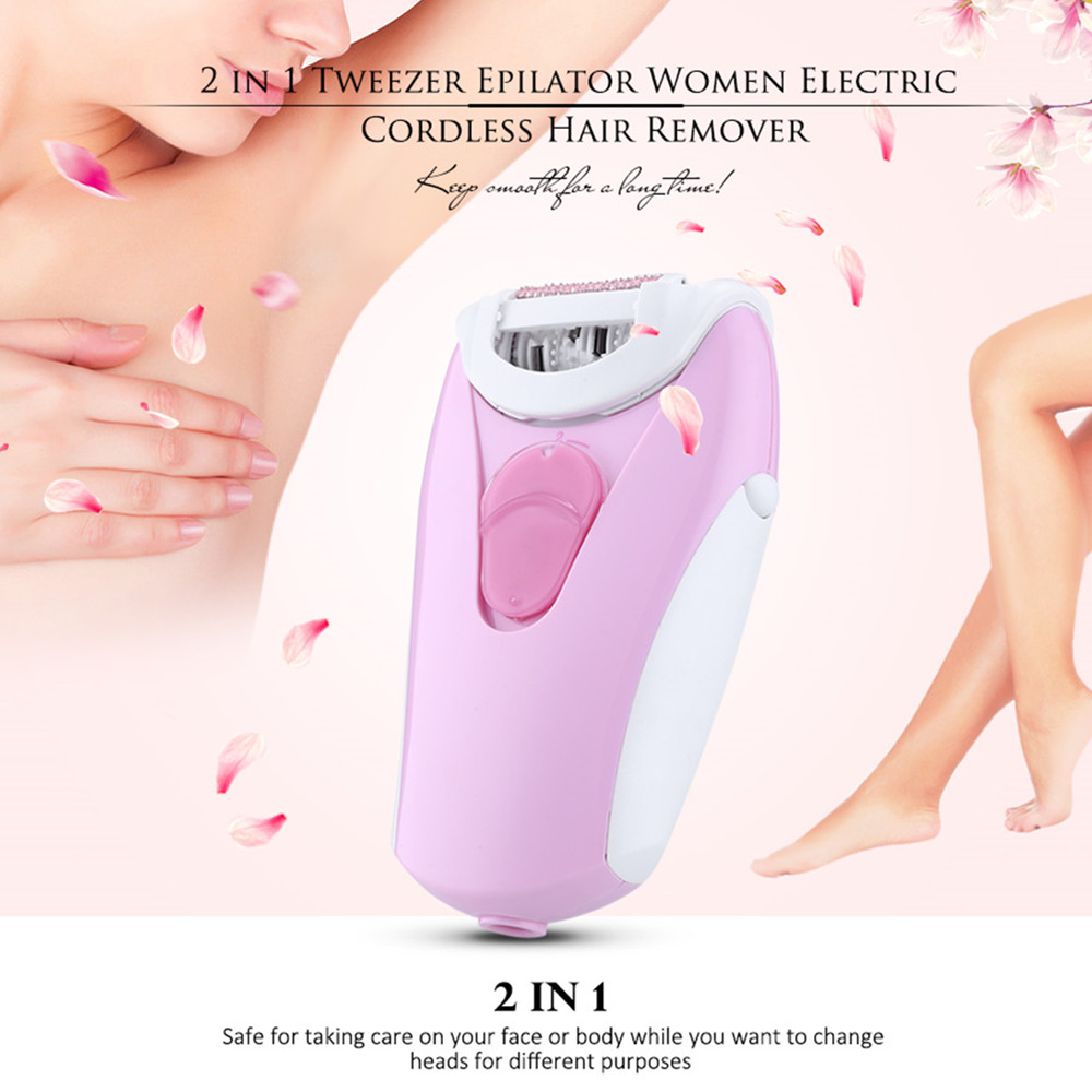 2 In 1 Tweezer Epilator Women Electric Lady Cordless Body Hair Removal Shaver Depilation Machine