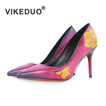 VIKEDUO Handmade Classic Genuine Leather Shoes Women Fashion Flower Pattern Lady Party Wedding Dress High Heel