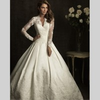 Royal Ball Gowns Celebrity Dress Satin Lace Long Sleeve Kate Middleton Wedding Dress Free Shipping