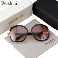 FEISHINI Elegant Fashion High Quality Glasses UVB Good Fatigue Resistance Sunglasses Women Brand Designers Vintage Oval 2017